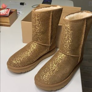 Tan with Gold Foil Ugg Boots